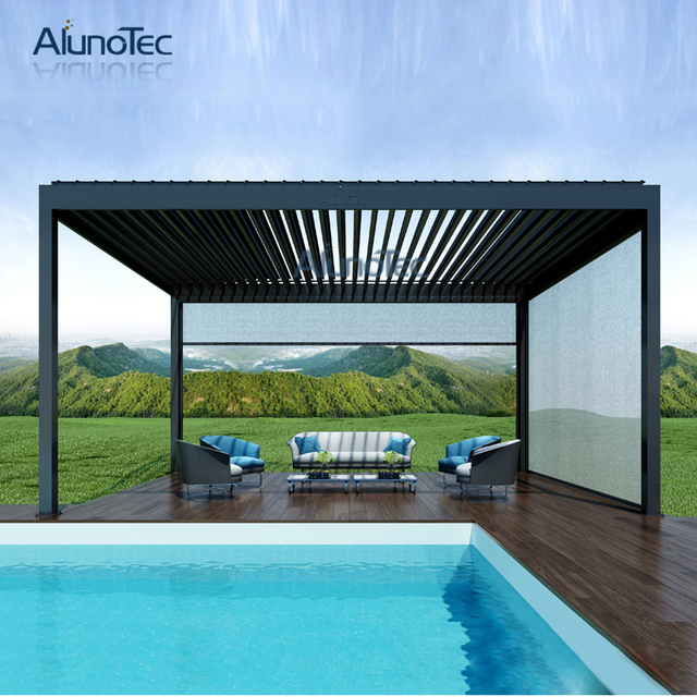 impermeabile pergola disegni piscina pergola alluminio gazebo patio copertura 4 m x 4 m x 3 m in. Black Bedroom Furniture Sets. Home Design Ideas