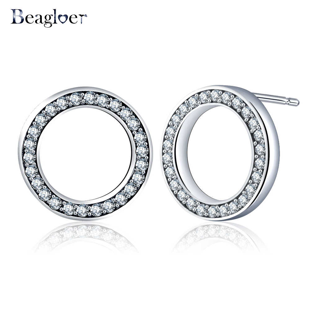 Beagloer Hot Forever Clear CZ Circle Round Stud Earrings With Beautiful Cubic Zirconia Fine Jewelry Bijoux CER0621-B