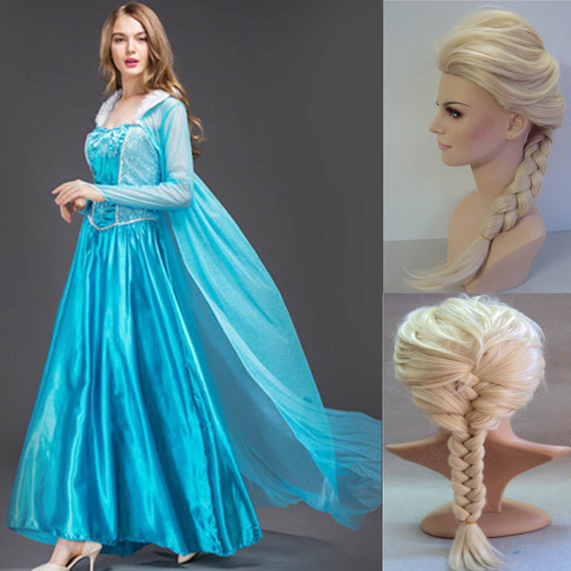 2019 New Adult Elsa Princess Dress Queen Anna Costume Grow Princess Elsa Cosplay Costume For Women Halloween Costumes With Wig