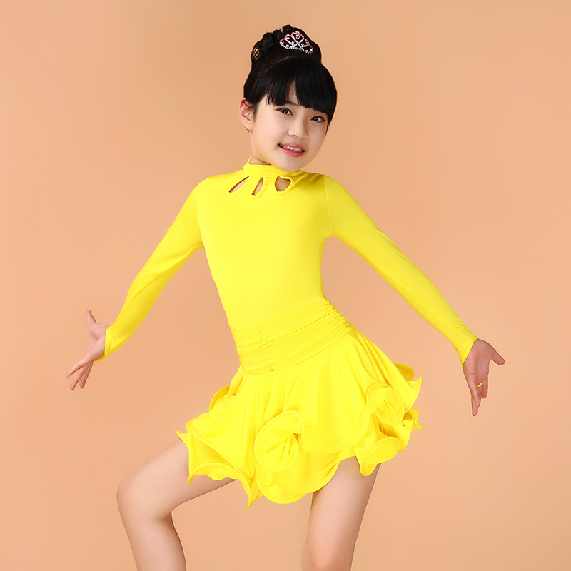 dance outfits for children latin costumes for kids professional girls child dress clothes latino salsa tango lake blue dancing