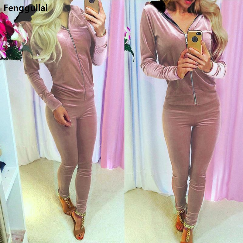 2018 Women Velvet Tracksuits Zippper Women Set Hooded Track Suit Women Two Piece Set Sportswear Female Sweatshirt A Great Variety Of Models