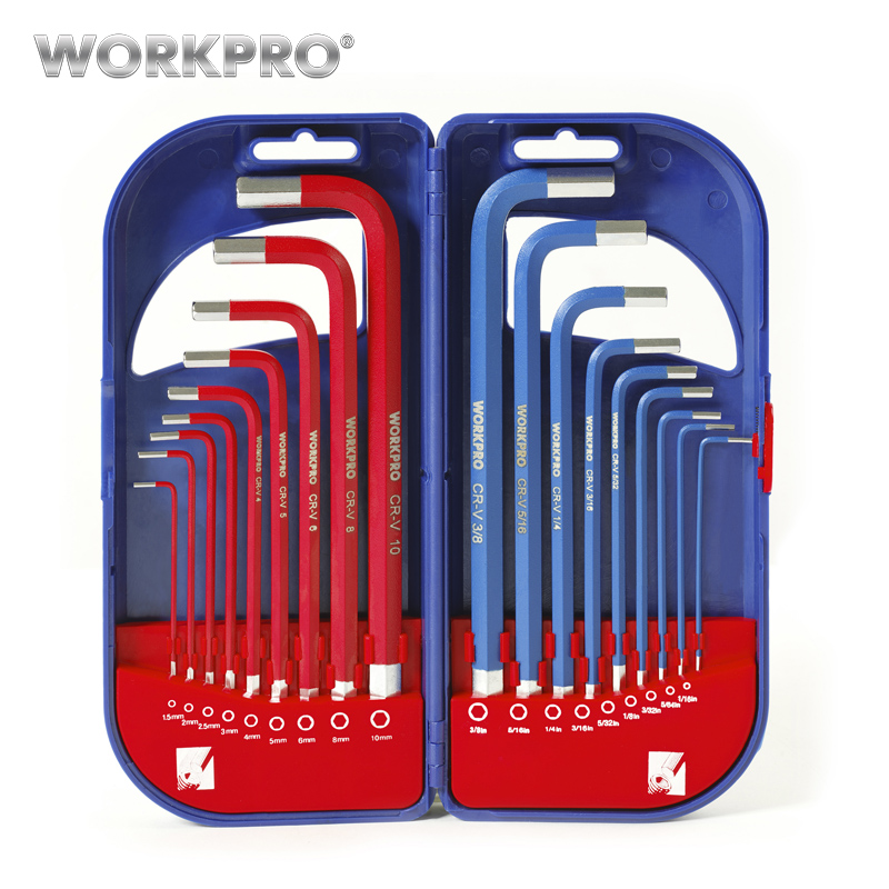 WORKPRO 18 in 1 Universal Hex Key Set Long Arm Short Arm Key Set SAE Metric Hex Key L Shape Wrenches посудомоечная машина bosch sks 62e88 sks62e88ru