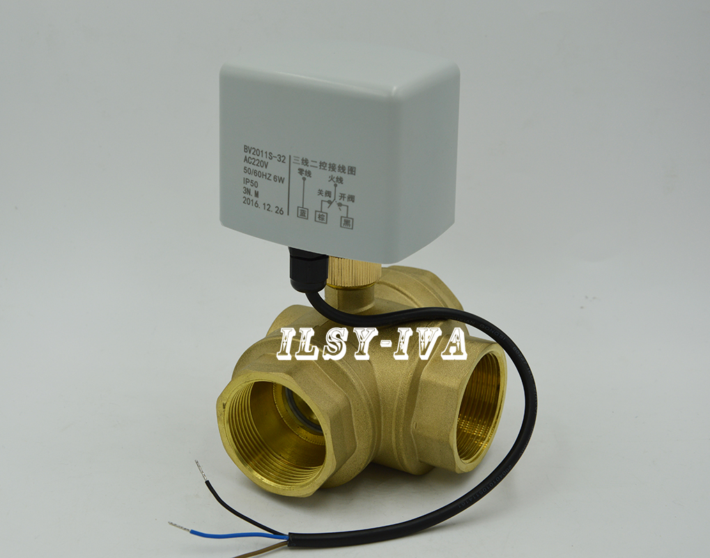 ФОТО 2017 new brass electrical ball valve,3 way DN15 to DN40 T-type Motorized Ball Valve