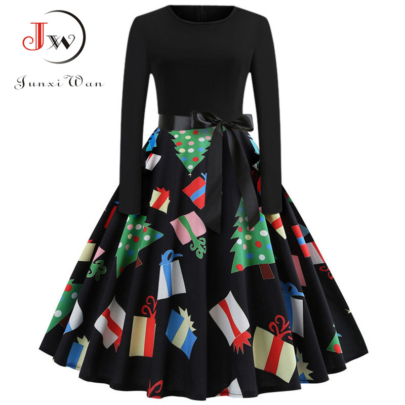Winter Women Christmas Dress Long Sleeve Print Vintage Party Dress Elegant Black Patchwork Bodycon Dresses Vestidos Plus Size 26