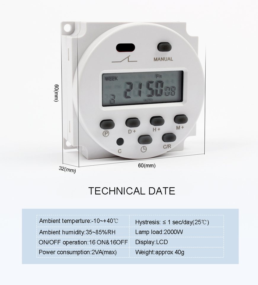 CN101A 24V-220V LCD Digitals Weekly Programmable Powers Timer Time Relay SwRSDE