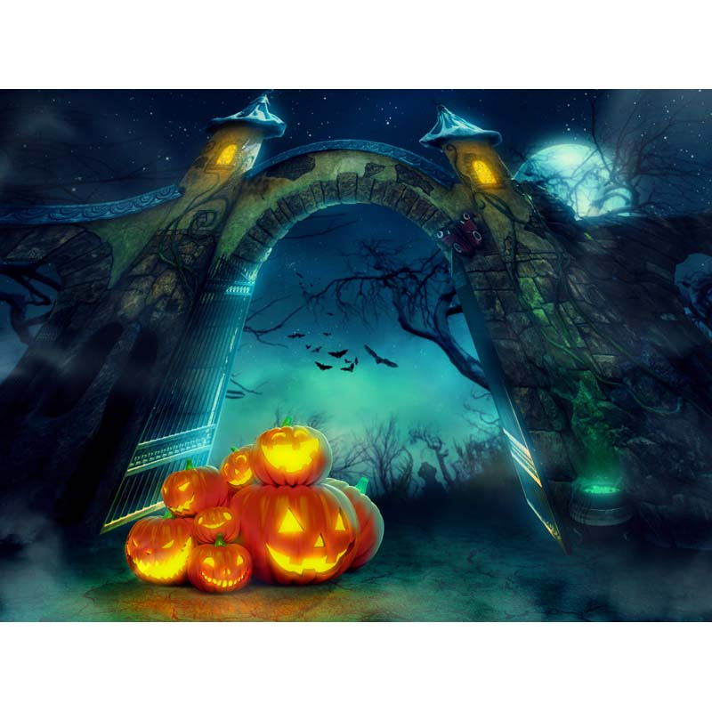 Customized vinyl print halloween pumpkin party poster photography backdrops for children photo studio portrait background HA-238 seattle mariners felix hernandez photo photo sport poster