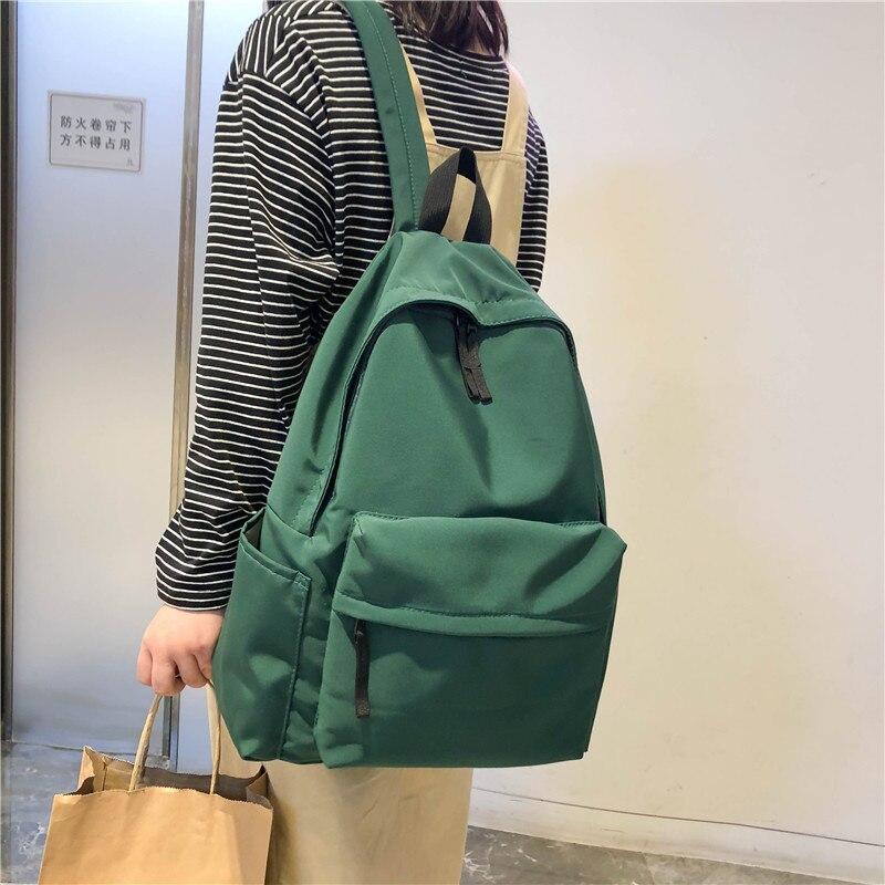 DCIMOR High Quality Pure Color Waterproof Nylon Women Backpack Female Travel Backpack For Teenage Girls Schoolbag Book Mochila