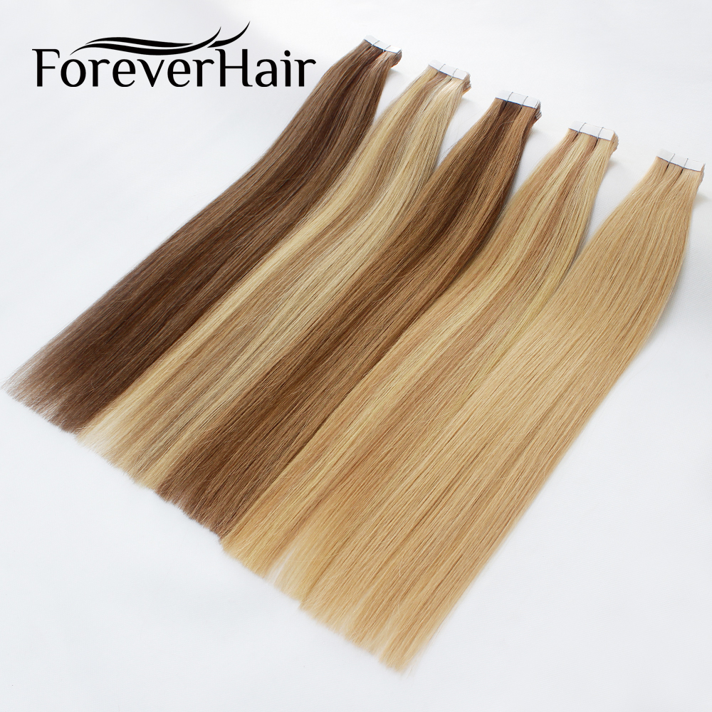 """FOREVER HAIR 2.0g/pc 18"""" Remy Tape In Hair Extension Piano Color Straight European Skin Weft Human Hair Extensions Salon Style"""