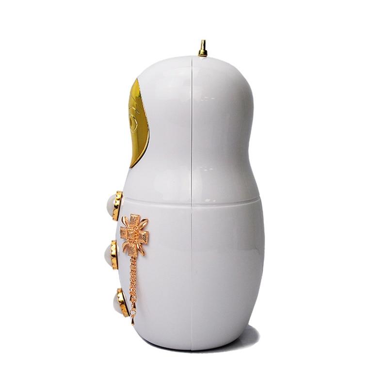 Nueva llegada Linda muñeca Rusa de dibujos animados de moda personalizada del banquete de boda de Acrílico mini bolso de noche de embrague bolso de las señoras monedero
