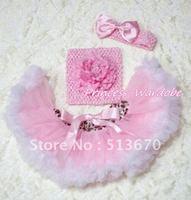 Roze wit luipaard taille baby pettiskirt, Roze pioen roze haak tube top, Roze boog hoofdband 3 st ingesteld MACT147
