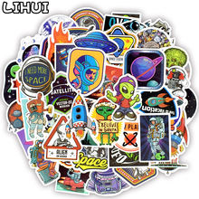 50 PCS Outer Space Stickers Toys for Children Alien UFO Astronaut Rocket Ship Planet Sticker to Scrapbooking Skateboard Laptop(China)