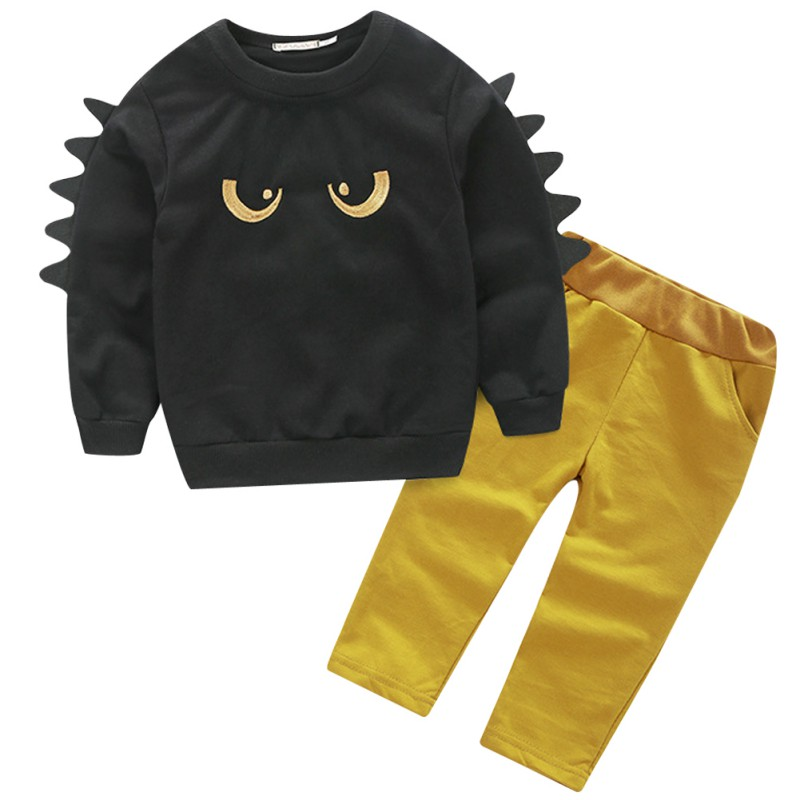 2017 Autumn Winter Baby Boy 2 Pcs Set O-Neck Long Sleeves Pullover Sweatshirt Top + Long Pants Suit Kids Outfit Clothing j2