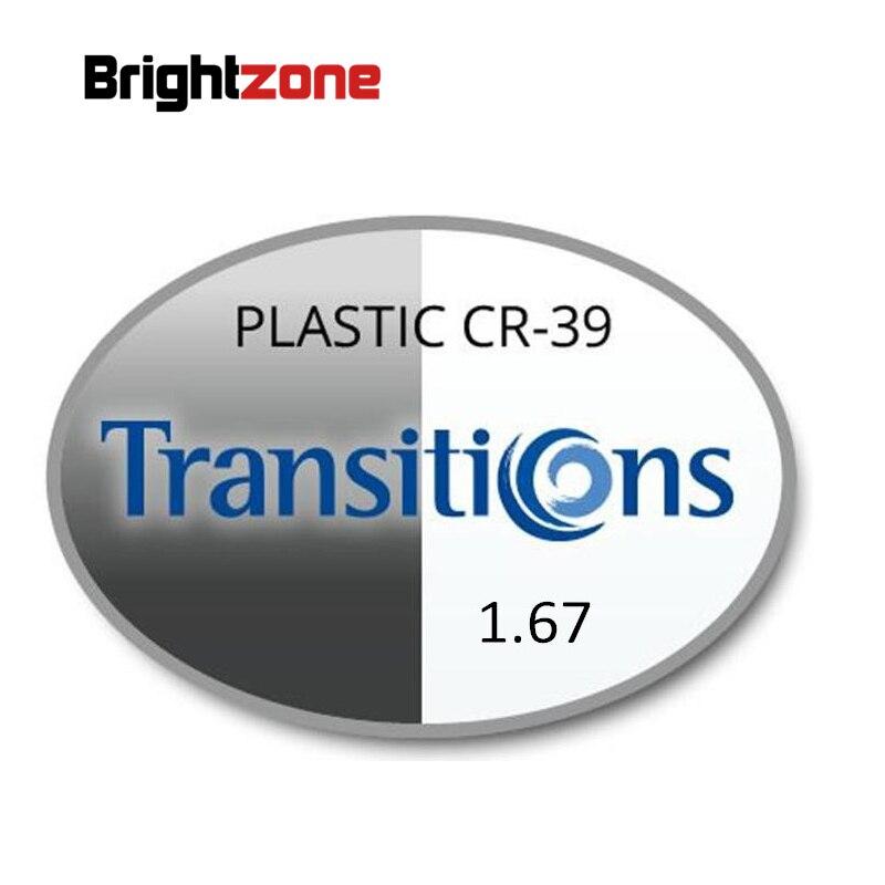 1.67 Transitions photochromiques gris et marron HMC UV AR unisexe CR-39 lunettes prescription RX lentilles pour myopie et astigmatisme
