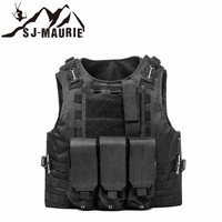 SJ MAURIE Hunting Vest Outdoor Plate Carrier Tactical Chest Rig Pouch Airsoft Military Molle Vest Combat Assault Plate Carrier