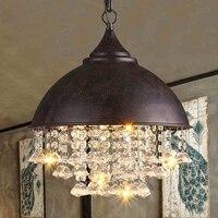 Lustre de Cristal moderno Luzes Lustres Luminária Industrial Americano Retro Vintage Cristal Pendurado Lâmpada Home Lighting Indoor