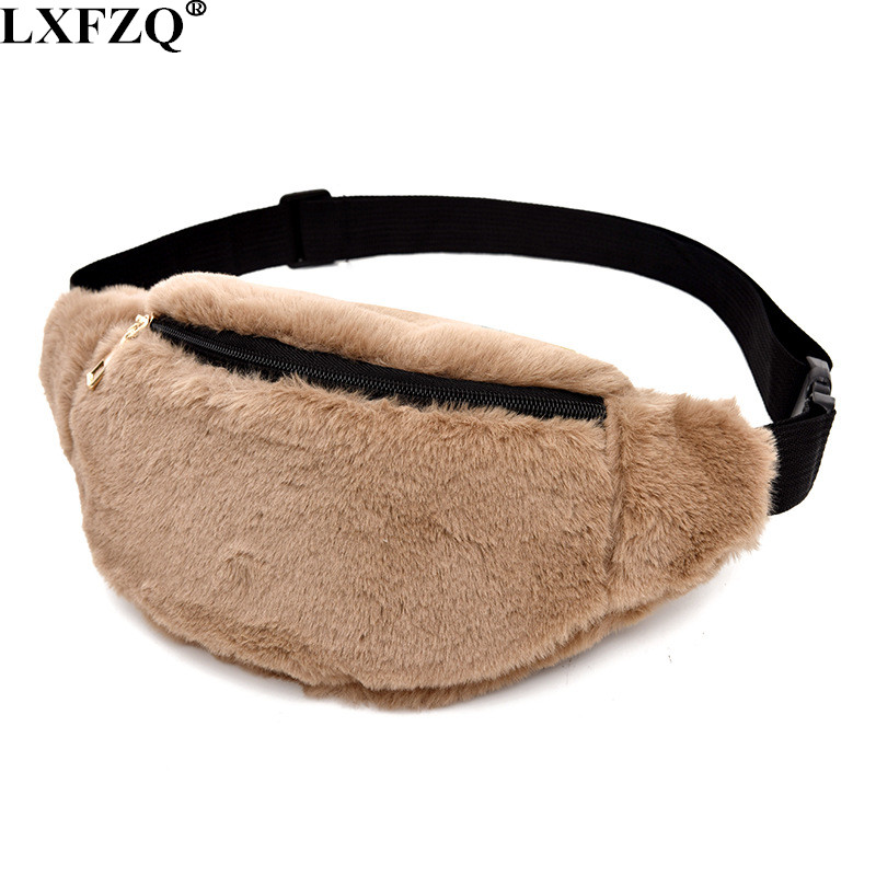LXFZQ NEW Plush Sac Banane Waist Bag Fanny Pack Women Leg Bag Belt Pouch Waist Leg Bag Travel Wallet Money Belt Bolsas Feminina