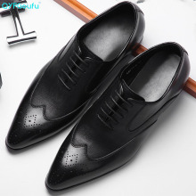QYFCIOUFU 2019 New Luxury Brogue Shoes Men Genuine Leather Pointed Toe Lace-up Dress Shoes Men Formal Fashion Office Shoes 2017 new spring fashion men pointed toe brogue shoes lace up genuine leather casual shoes high quality thick sole shoes wa 50