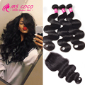 Brazilian Virgin Hair With Closure 4 Bundles Human Hair With Lace Closure Peerless Virgin Hair Brazilian Body Wave With Closure