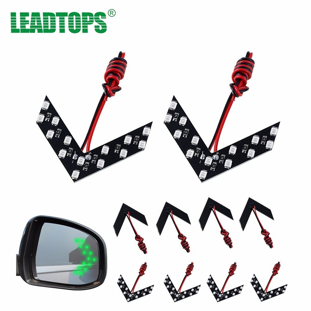 LEADTOPS 10PCS 14 SMD LED Arrow Panel For Car Rear View Mirror Indicator Turn Signal Light Warning Light For All Car AF
