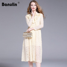 2019 Women Lace Apricot Dress Designer Runway Bow Autumn Summer Dresses Long Sleeve High Quality Openwork Casual