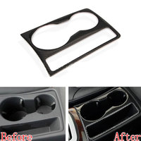 Auto Carbon Fiber Water Cup Holder Panel Frame Decorative Cover Trim Fits For Audi A4L A5 2012 2013 2014 2015 Car Styling
