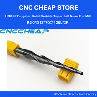 1pc R2 D12 70 120L 2F HRC55 Tungsten Solid Carbide Taper Ball Nose End Mill Cone