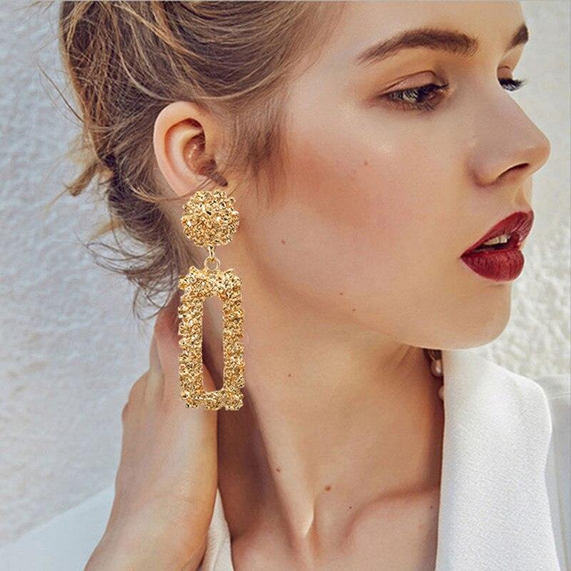 Big Vintage Earrings for Women Gold Silver Geometric Statement Earrings 19 Metal Earring Hanging Fashion Jewelry 1