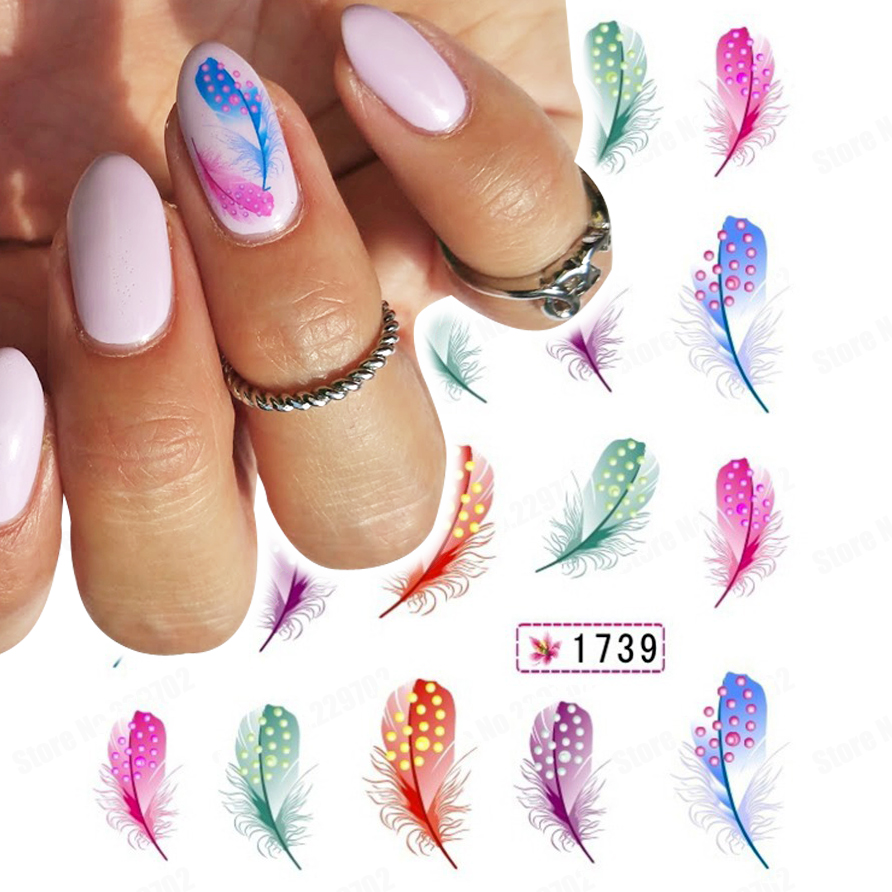 Aliexpress.com : Buy (Min. Order 3 usd) Feather Nail Art Decals ...