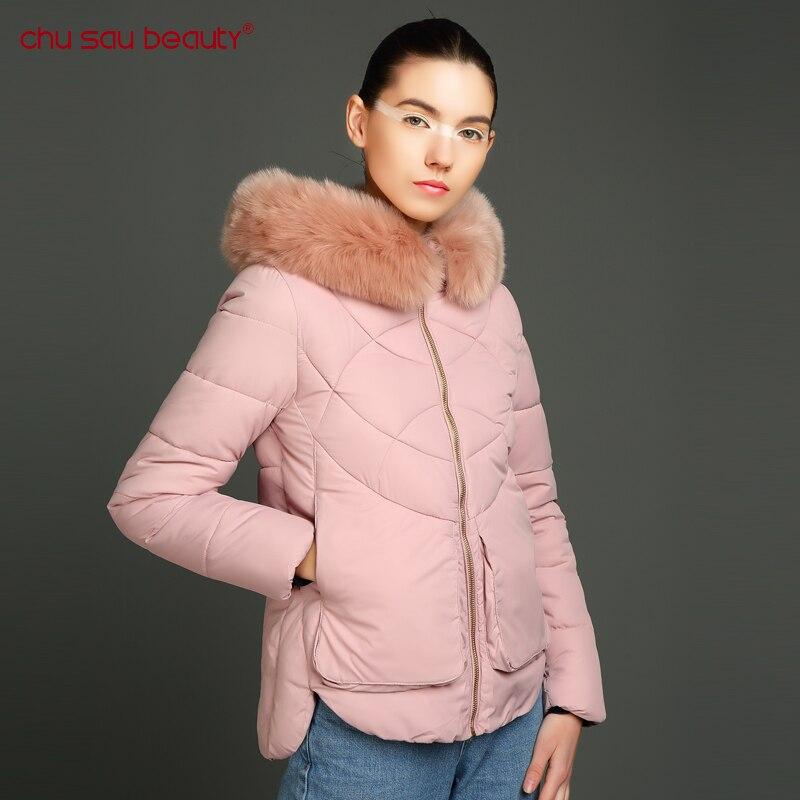 CHUSAUBEAUTY Ukraine Woven Solid Zipper  Woman Parka Winter Women Jacket Coat Fur Warm High Quality 2017 New Collection Full