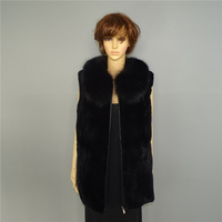 Rex Rabbit Fur Vest Fox hair collar Zipper fly Women's fur vest