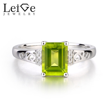 Leige Jewelry Real Natural Green Peridot Ring Engagement Rings Emerald Cut Gemstone August Birthstone Ring 925 Sterling Silver