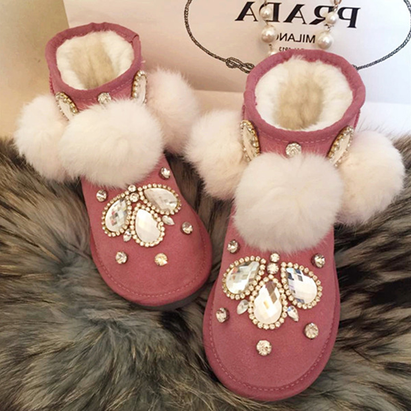Free Shipping pink Rhinestone crystal bowknot baby girl's bling kids Snow Boots children warm rabbit fashion Winter shoes 4427