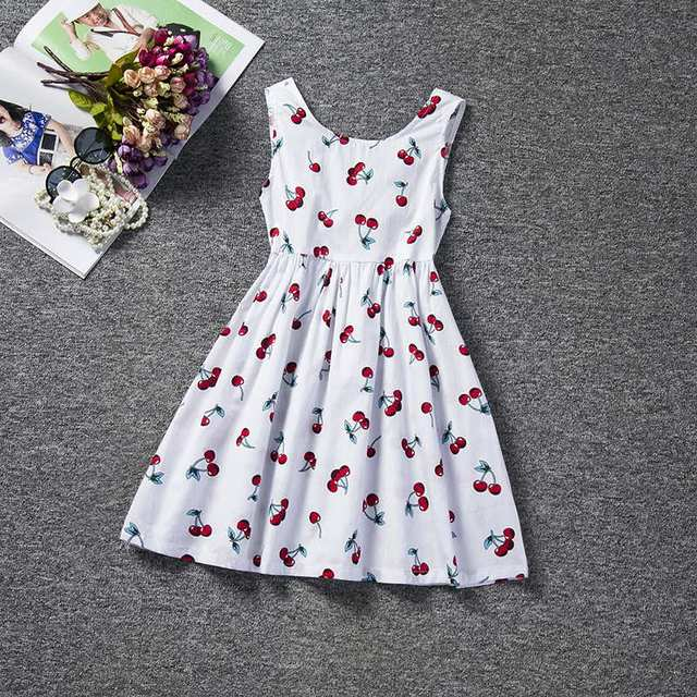 Summer Floral Print Girl Dress A-line 2019 Brand Baby Kid Children Clothing Sleeveless Kids Clothes For Girls Holiday Party