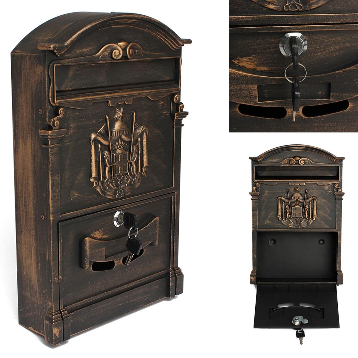 3 цвета Ретро почтовый ящик виллы почтовый ящик Европейский запираемый открытый стенгазету Коробки Secure Letterbox Сад украшения дома
