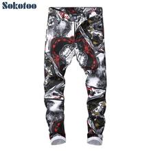 Printed Jeans Denim Pants Slim-Fit Sokotoo Drawing Stretch Black White Trendy Straight