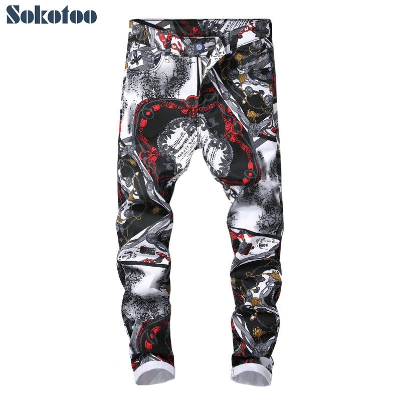 Sokotoo Men's fashion 3D pattern slim fit straight printed jeans Trendy white black colored drawing stretch denim pants