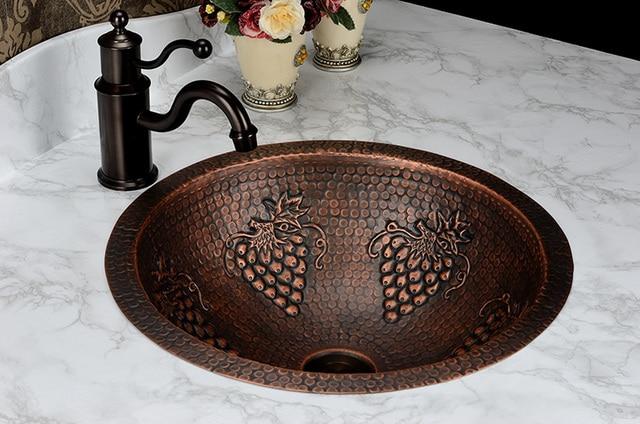 Good Free Shipping Fashion Wash Basin, Antique Cooper Brass Basin, Handmade Copper  Sink,Copper