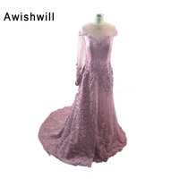 New Design One Long Sleeve Evening Dresses For Women Wear Appliques Lace A Line Beadings Party