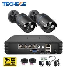 Techege 4CH CCTV системы 720 P 3 в 1 AHD CCTV DVR 2 шт. 1.0MP ИК Крытый безопасности камера 1200TVL камера системы скрытого видеонаблюдения