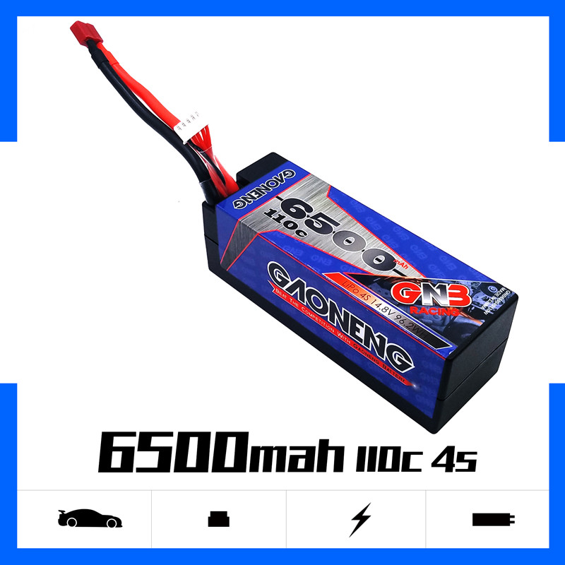 Gaoneng GNB 6500mAh 4S 14.8V 110C/220C Hardcase LiPo Battery pack Deans T Plug for 1:8 1/8 RC Car four drive off road RC Car