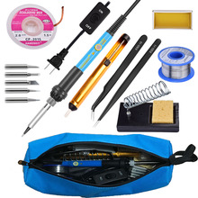 Tools - Welding Equipment - 60W 110V Us220V EU Electric Adjustable Temperature Welding Solder Soldering Iron With 5pcs Iron Tips + Stand