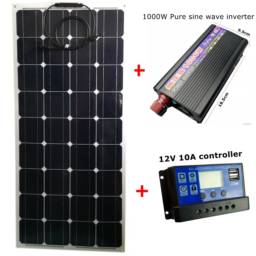 Mono 18V 100W Flexible Solar Panel with 12V 24V 10A Controller and 1000W Pure Sine Wave