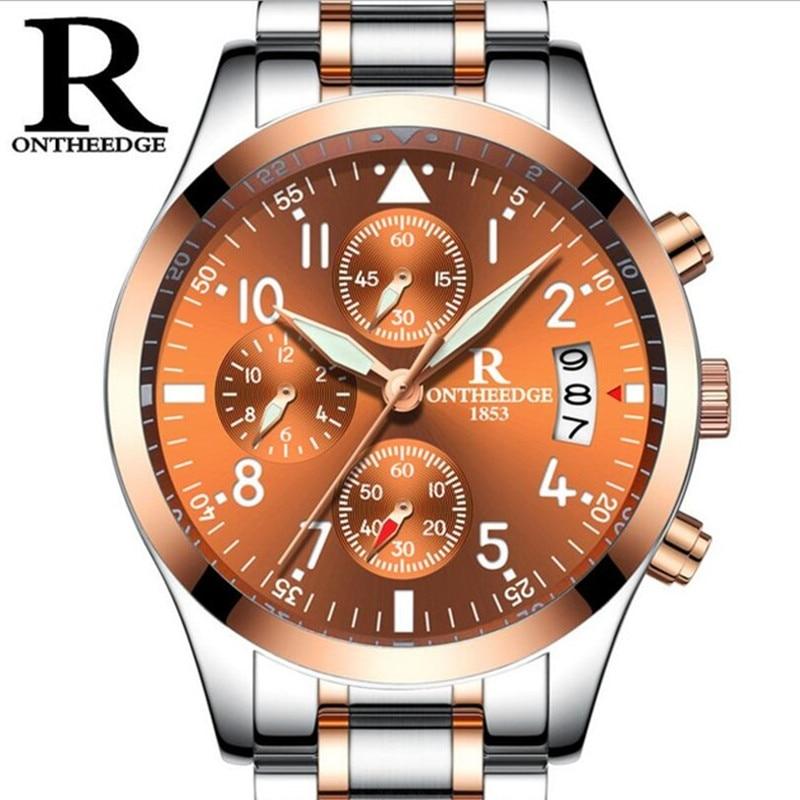 reloj hombre Mens Watches Top Brand Luxury ONTHEEDG Men Military Sport Luminous Waterproof Wristwatch Chronograph Quartz Watch