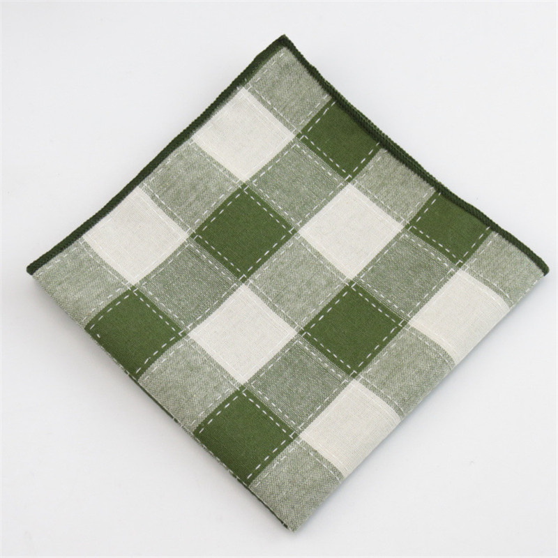 Mantieqingway Brand New Cotton Pocket Square Classic Plaid Handkerchief For Suit Pocket Towel Striped Pocket Hankies For Men