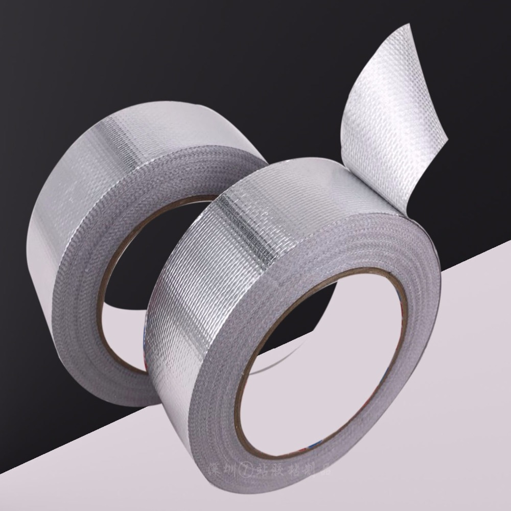 Glass fiber Aluminium Foil Adhesive Sealing Tape Heat Resist High Temperature Resistant Foil Single Side Adhesive Tape for Pipe 110mm 33 meters 0 08mm single side heat resist sticky pet polyester film tape for protection