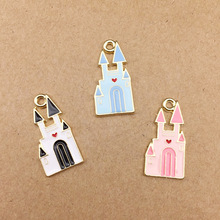 10pcs/lot Castle Building Enamel Charms Alloy Floating Oil Drop Pendant DIY Bracelet Necklace Jewelry Accessories Handmade YZ101