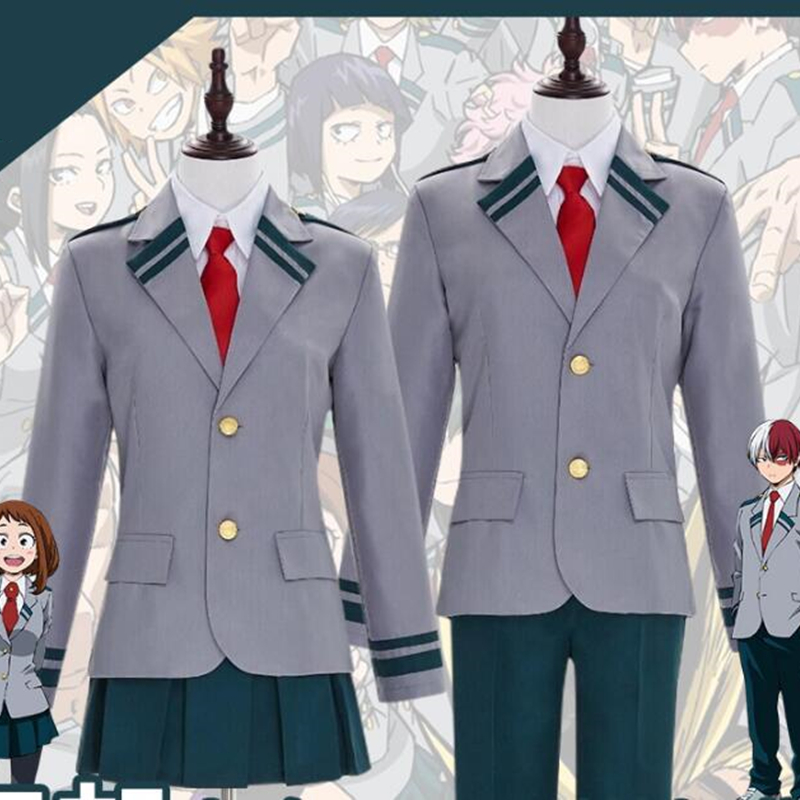 My Hero Academia Uniforms cosplay Midoriya Izuku OCHACO URARAKA Todoroki Shoto costume top pants Dresses Wig Anime clothing