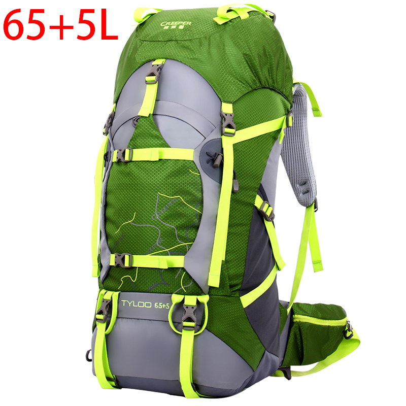 70L men women Travel Climbing Backpacks outdoor bag waterproof Nylon Camping Hiking Backpack metal frame Rucksack + rain cover цена