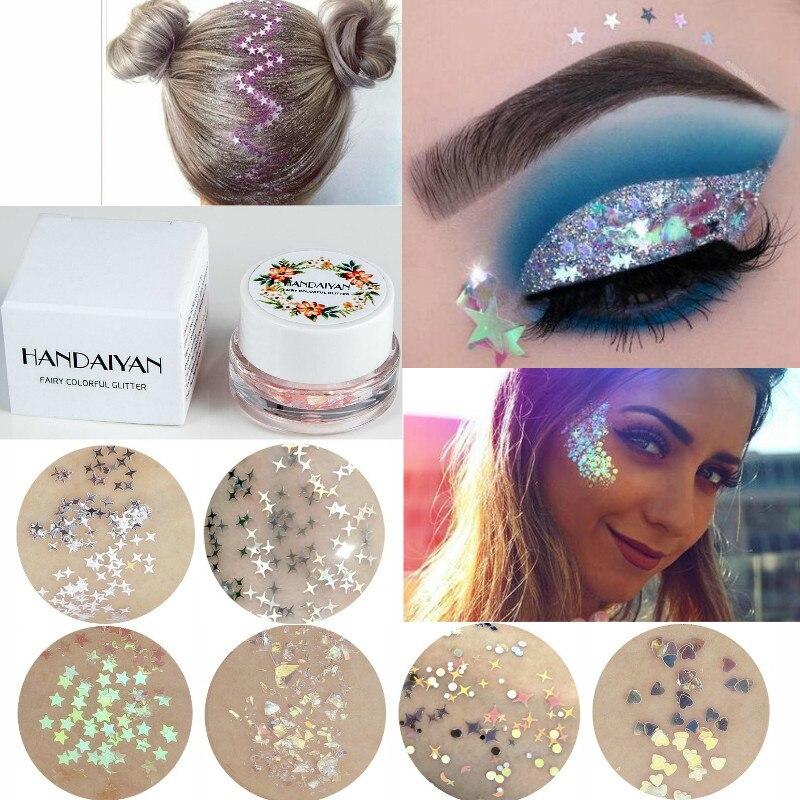 HANDAIYAN Glitter Gel Face Eye Nail Hair Body Glitter Cream Gold Silver Diamond Glow Shimmer Mermaid Cream Highlighter For Party