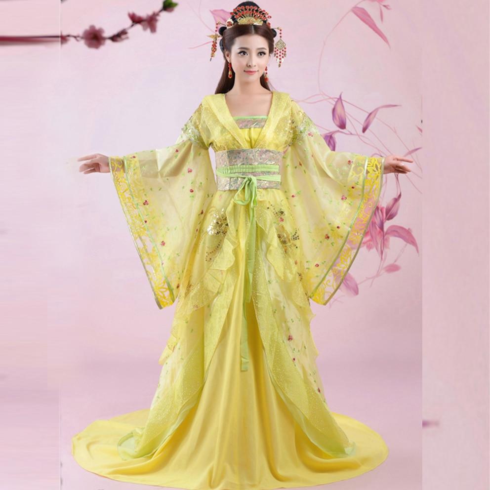 Gorgeous Yellow Chinese Ancient Infanta Peri Big Tail Embroider Flower Dramaturgic Dress Princess Dress Cosplay One Size 081505
